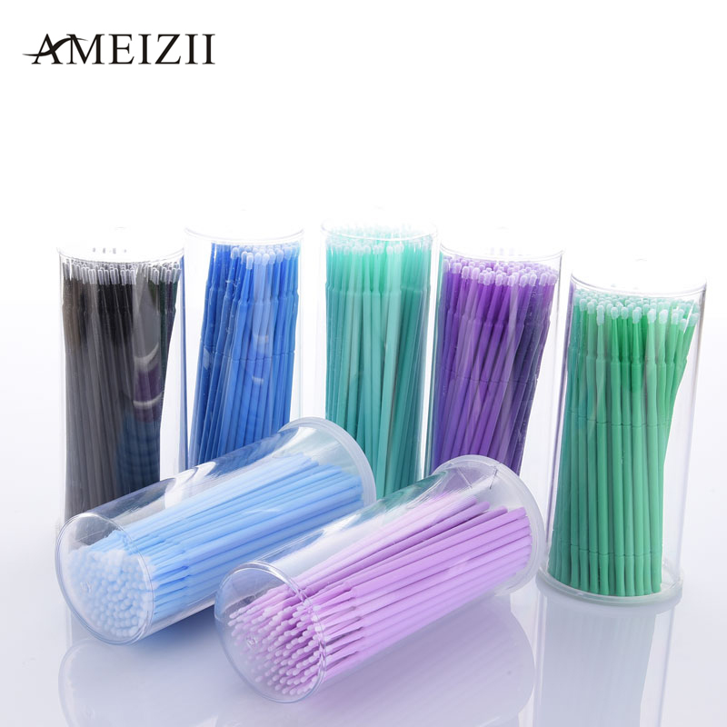 Ameizii 100pcs Pack Disposable Makeup Brushes Individual Lash